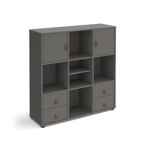 Universal cube storage unit 1295mm high on glides with matching shelf and 2 cupboards and 2 sets of drawers - grey with grey inserts