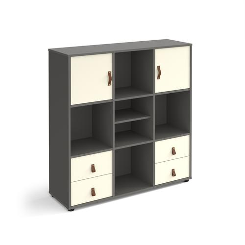 Universal cube storage unit 1295mm high on glides with matching shelf and 2 cupboards and 2 sets of drawers - grey with white inserts