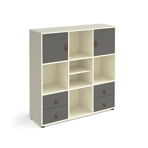 Universal cube storage unit 1295mm high on glides with matching shelf, 2 cupboards and 2 sets of drawers - white with grey inserts
