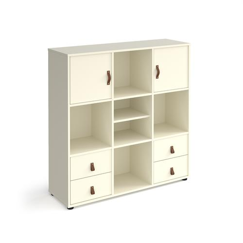 Universal cube storage unit 1295mm high on glides with matching shelf and 2 cupboards and 2 sets of drawers - white with white inserts
