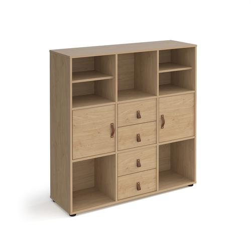 Universal cube storage unit 1295mm high on glides with 2 matching shelves and 2 cupboards and 2 sets of drawers - oak with oak inserts