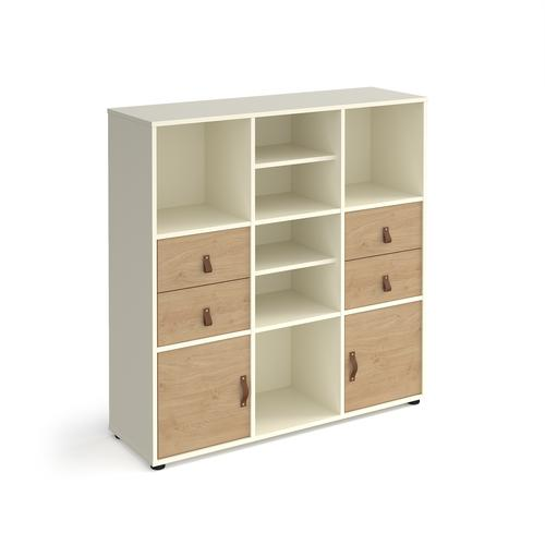 Universal cube storage unit 1295mm high on glides with 2 matching shelves and 2 sets of drawers and 2 cupboards - white with oak inserts