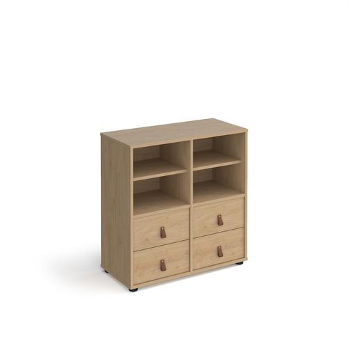 Universal cube storage unit 875mm high on glides with 2 matching shelves and 2 sets of drawers - oak with oak inserts