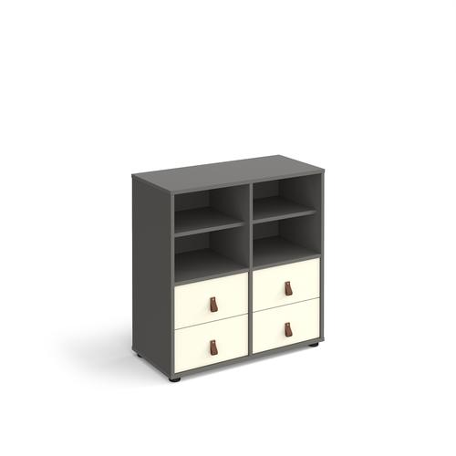 Universal cube storage unit 875mm high on glides with 2 matching shelves and 2 sets of drawers - grey with white inserts