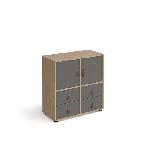 Universal cube storage unit 875mm high on glides with 2 cupboards and 2 sets of drawers - oak with grey inserts