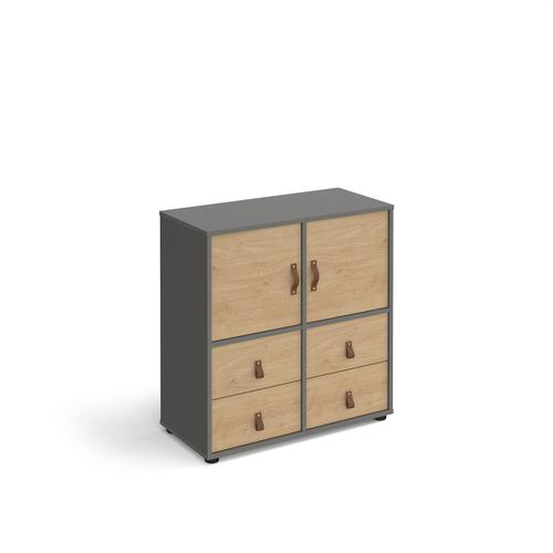 Universal cube storage unit 875mm high on glides with 2 cupboards and 2 sets of drawers - grey with oak inserts