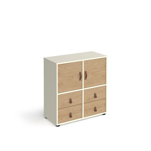 Universal cube storage unit 875mm high on glides with 2 cupboards and 2 sets of drawers - white with oak inserts