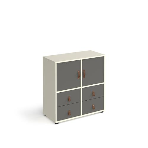 Universal cube storage unit 875mm high on glides with 2 cupboards and 2 sets of drawers - white with grey inserts