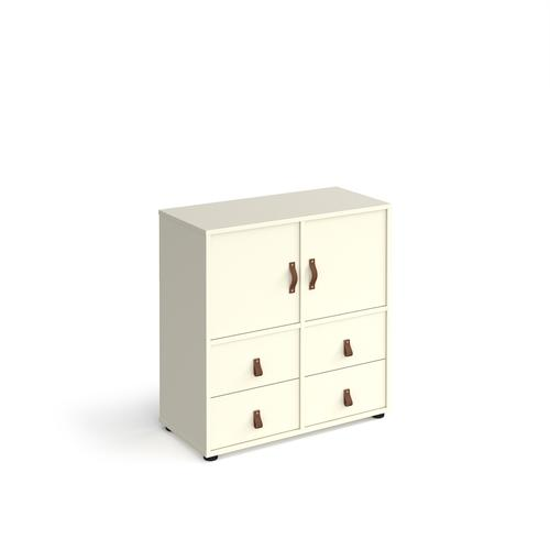 Universal cube storage unit 875mm high on glides with 2 cupboards and 2 sets of drawers - white with white inserts