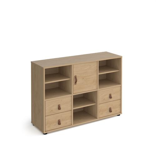 Universal cube storage unit 875mm high on glides with 3 matching shelves, cupboard and 2 sets of drawers - oak with oak inserts