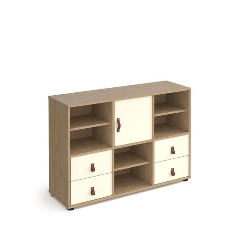 Universal cube storage unit 875mm high on glides with 3 matching shelves and cupboard and 2 sets of drawers - oak with white inserts