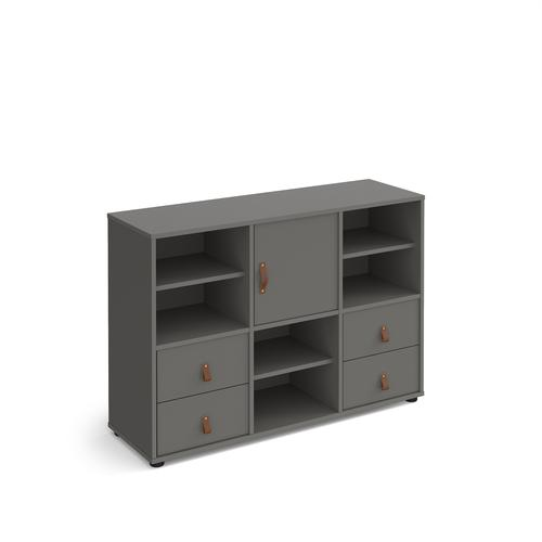 Universal cube storage unit 875mm high on glides with 3 matching shelves, cupboard and 2 sets of drawers - grey with grey inserts