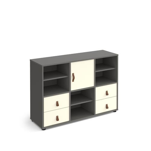 Universal cube storage unit 875mm high on glides with 3 matching shelves, cupboard and 2 sets of drawers - grey with white inserts