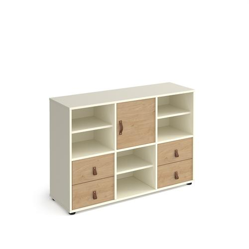 Universal cube storage unit 875mm high on glides with 3 matching shelves, cupboard and 2 sets of drawers - white with oak inserts