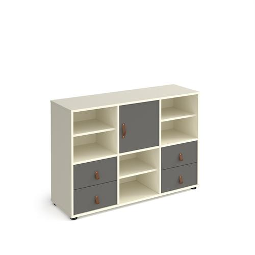 Universal cube storage unit 875mm high on glides with 3 matching shelves, cupboard and 2 sets of drawers - white with grey inserts