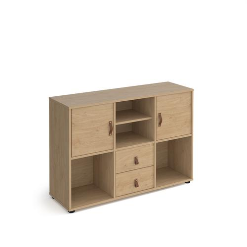 Universal cube storage unit 875mm high on glides with matching shelf and 2 cupboards and drawers - oak with oak inserts