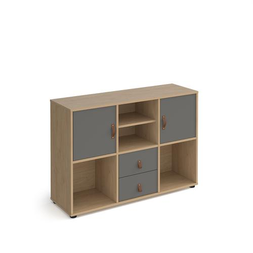 Universal cube storage unit 875mm high on glides with matching shelf and 2 cupboards and drawers - oak with grey inserts