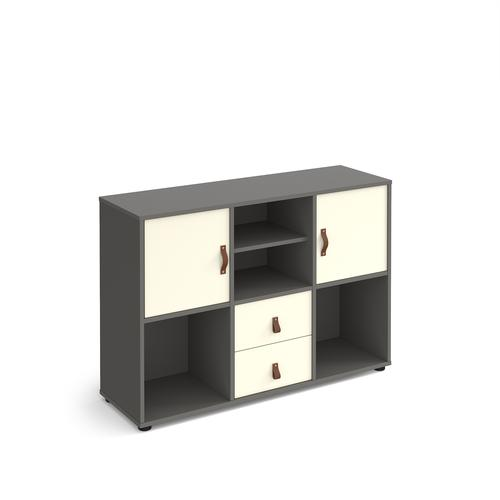 Universal cube storage unit 875mm high on glides with matching shelf and 2 cupboards and drawers - grey with white inserts