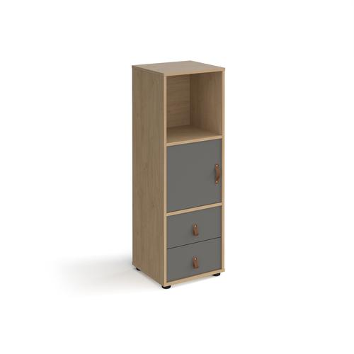 Universal cube storage unit 1295mm high on glides with cupboard and drawers - oak with grey inserts
