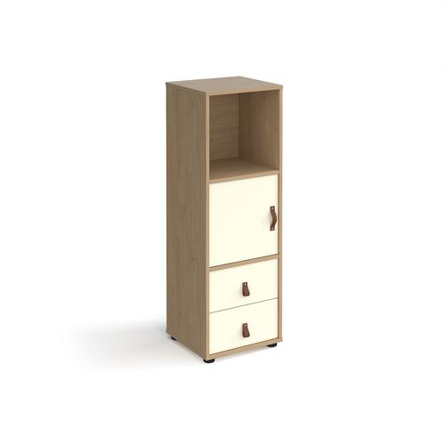 Universal cube storage unit 1295mm high on glides with cupboard and drawers - oak with white inserts