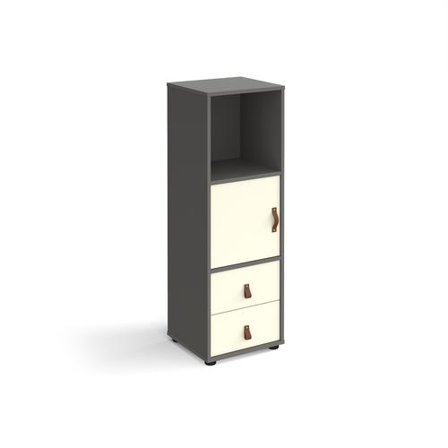 Universal cube storage unit 1295mm high on glides with cupboard and drawers - grey with white inserts