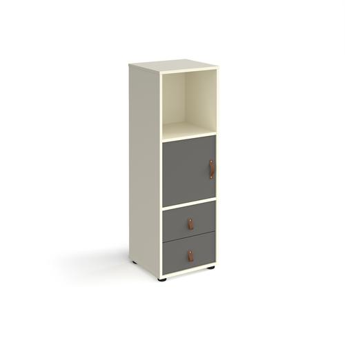 Universal cube storage unit 1295mm high on glides with cupboard and drawers - white with grey inserts