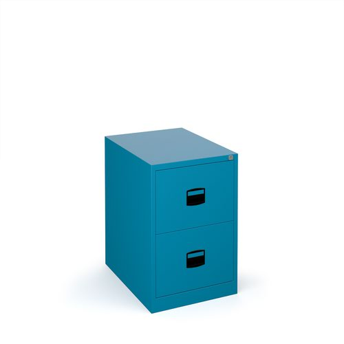 Steel 2 drawer contract filing cabinet 711mm high - blue