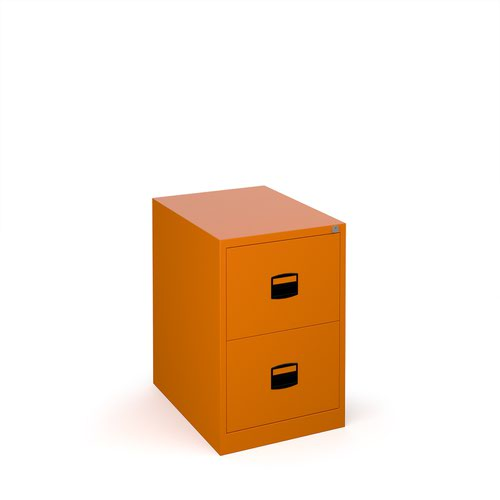 Steel 2 drawer contract filing cabinet 711mm high - orange