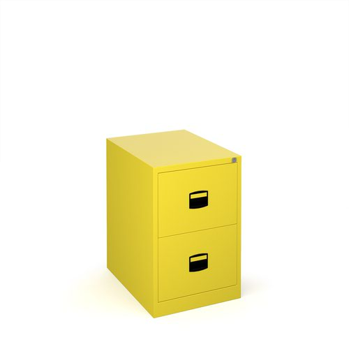 Steel 2 drawer contract filing cabinet 711mm high - yellow