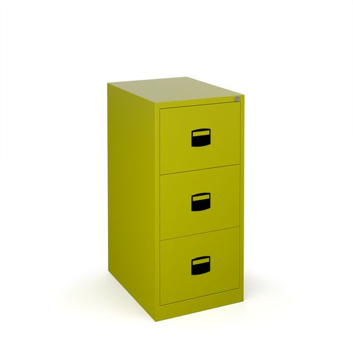 Steel 3 drawer contract filing cabinet 1016mm high - green
