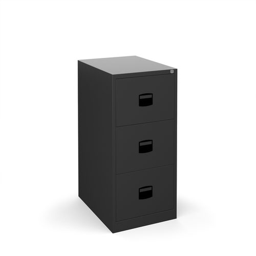 Steel 3 drawer contract filing cabinet 1016mm high - black