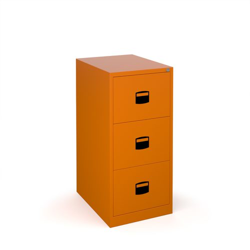 Steel 3 drawer contract filing cabinet 1016mm high - orange