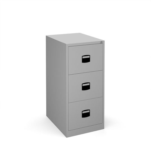 Steel 3 drawer contract filing cabinet 1016mm high - silver