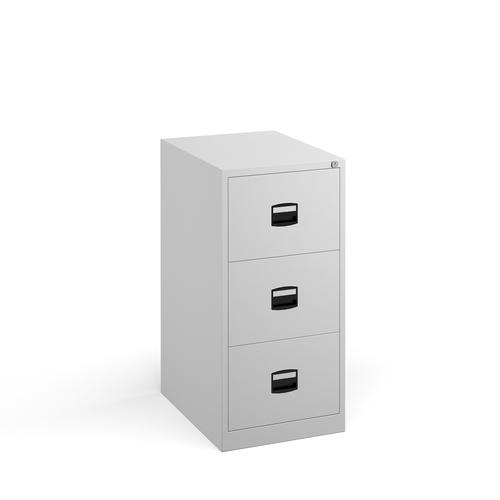 Steel 3 drawer contract filing cabinet 1016mm high - white