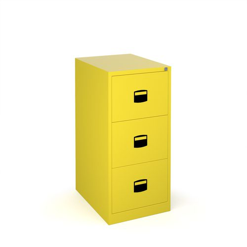 Steel 3 drawer contract filing cabinet 1016mm high - yellow