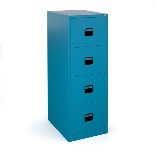 Steel 4 drawer contract filing cabinet 1321mm high - blue