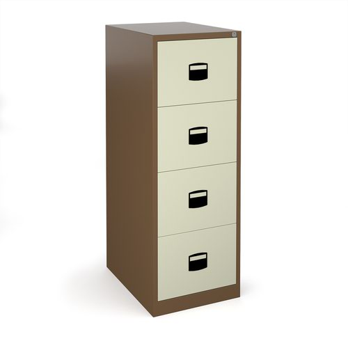 Steel 4 drawer contract filing cabinet 1321mm high - coffee/cream