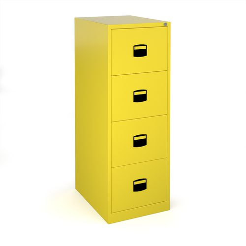 Steel 4 drawer contract filing cabinet 1321mm high - yellow