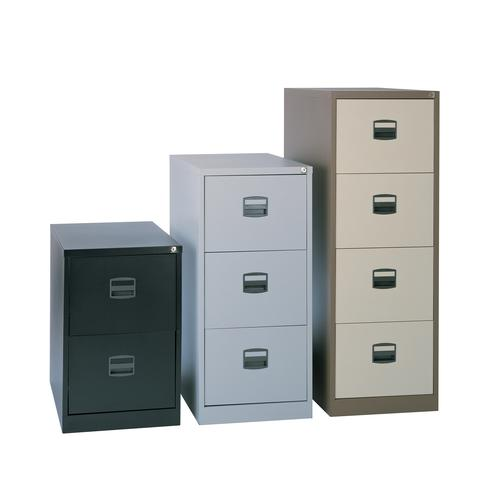 Steel 2 drawer contract filing cabinet 711mm high - goose grey | SO-DCF2G | Dams International
