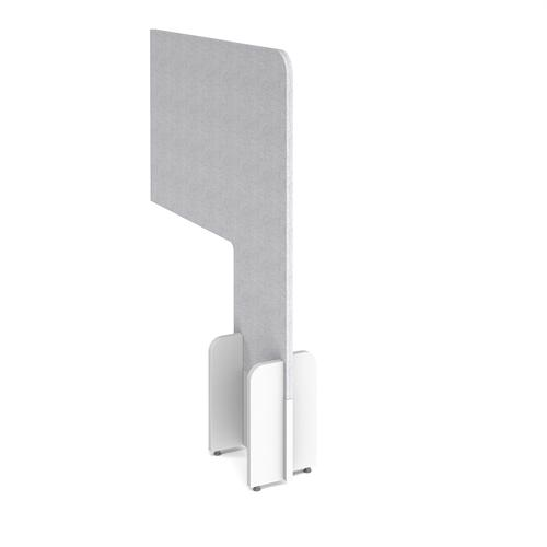 Desk division floor standing fabric screen - glass grey