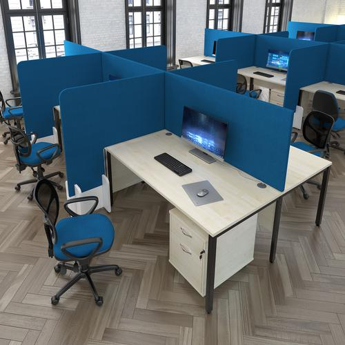 Straight high desktop fabric screen 1400mm x 700mm - galilee blue Desk Mounted Screens EH1400-EJ125