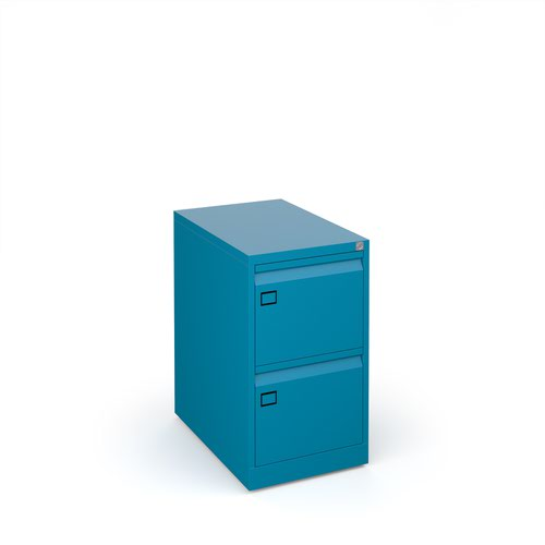 Steel 2 drawer executive filing cabinet 711mm high - blue