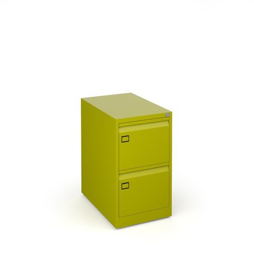Steel 2 drawer executive filing cabinet 711mm high - green