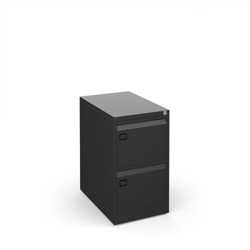 Steel 2 drawer executive filing cabinet 711mm high - black