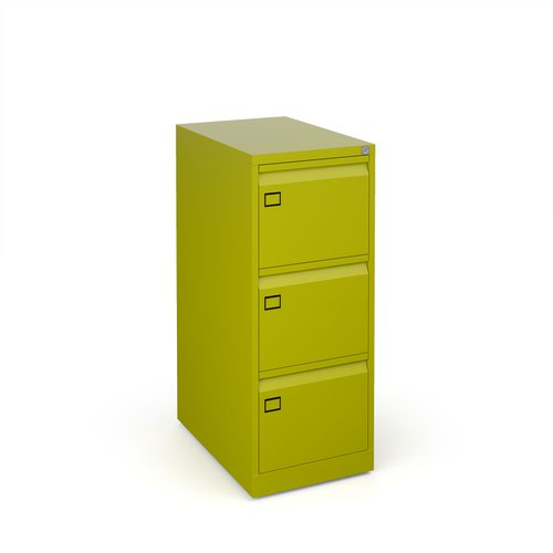 Steel 3 drawer executive filing cabinet 1016mm high - green