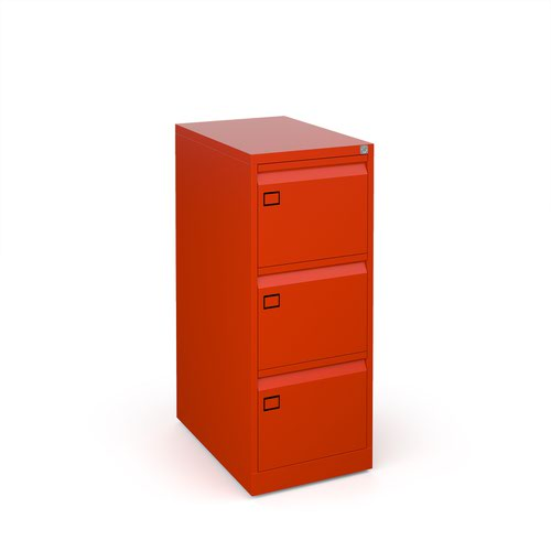 Steel 3 drawer executive filing cabinet 1016mm high - red