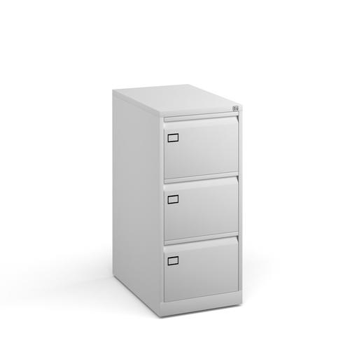 Steel 3 drawer executive filing cabinet 1016mm high - white
