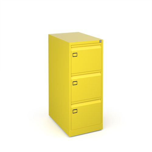 Steel 3 drawer executive filing cabinet 1016mm high - yellow