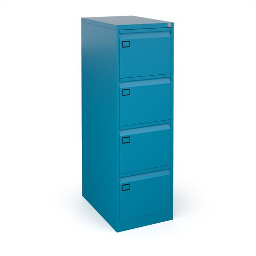 Steel 4 drawer executive filing cabinet 1321mm high - blue