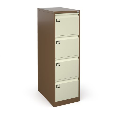 Steel 4 drawer executive filing cabinet 1321mm high - coffee/cream